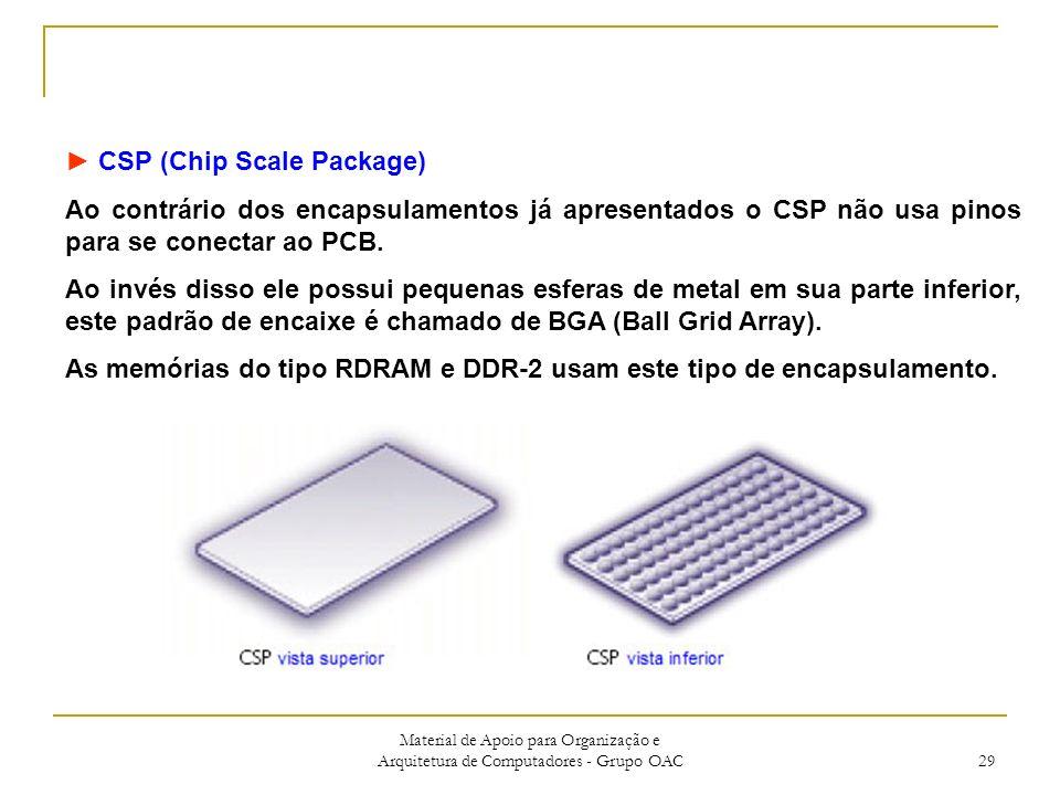 Material de Apoio para Organização e Arquitetura de Computadores - Grupo OAC 29 CSP (Chip Scale Package) Ao contrário dos encapsulamentos já apresentados o CSP não usa pinos para se conectar ao PCB.