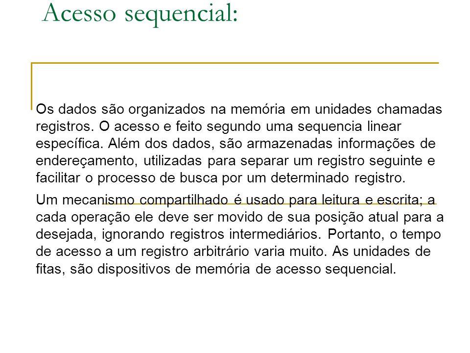 Acesso sequencial: Os dados são organizados na memória em unidades chamadas registros.