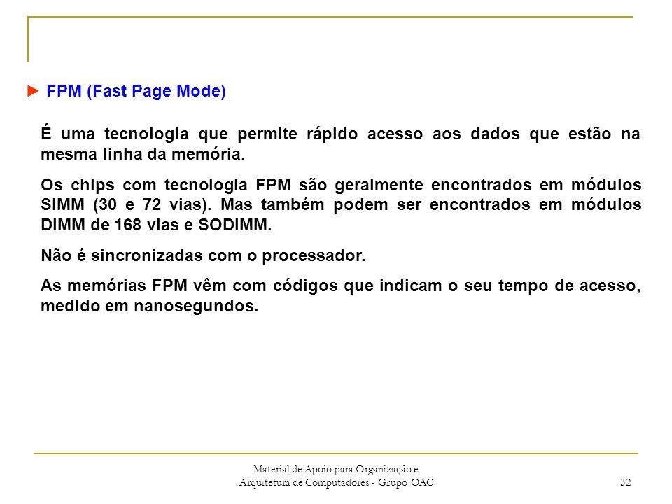 Material de Apoio para Organização e Arquitetura de Computadores - Grupo OAC 32 FPM (Fast Page Mode) É uma tecnologia que permite rápido acesso aos dados que estão na mesma linha da memória.