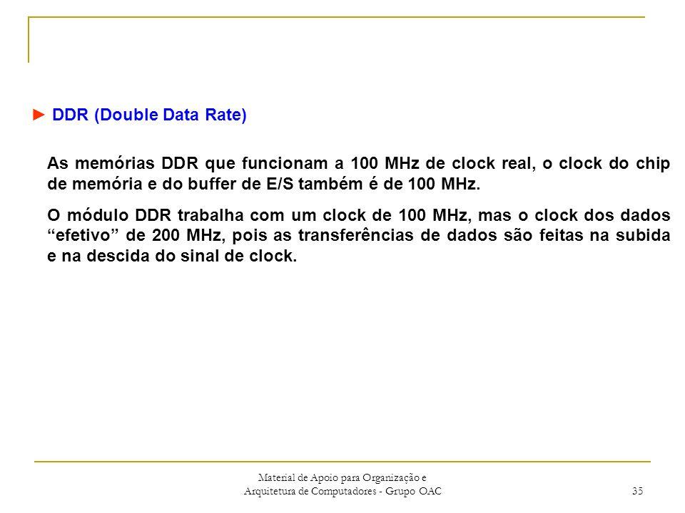 Material de Apoio para Organização e Arquitetura de Computadores - Grupo OAC 35 DDR (Double Data Rate) As memórias DDR que funcionam a 100 MHz de clock real, o clock do chip de memória e do buffer de E/S também é de 100 MHz.