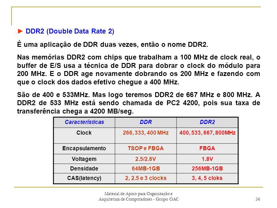 Material de Apoio para Organização e Arquitetura de Computadores - Grupo OAC 36 DDR2 (Double Data Rate 2) É uma aplicação de DDR duas vezes, então o nome DDR2.