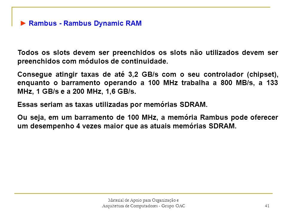 Material de Apoio para Organização e Arquitetura de Computadores - Grupo OAC 41 Rambus - Rambus Dynamic RAM Todos os slots devem ser preenchidos os slots não utilizados devem ser preenchidos com módulos de continuidade.