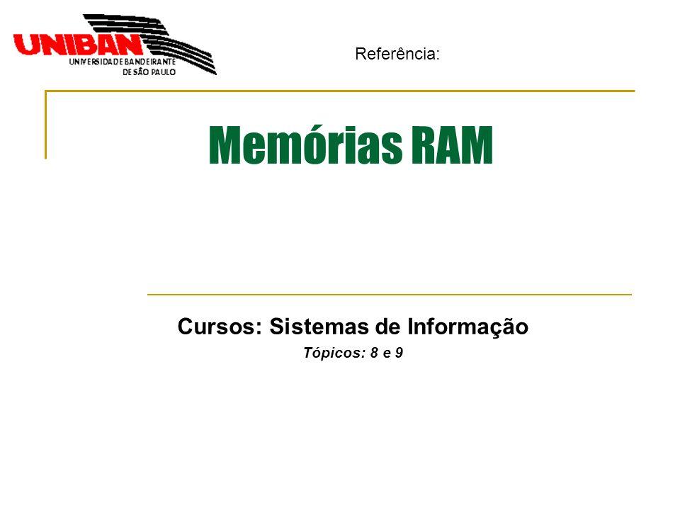 Memórias RAM Cursos: Sistemas de Informação Tópicos: 8 e 9 Referência: