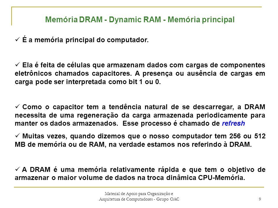 Material de Apoio para Organização e Arquitetura de Computadores - Grupo OAC 9 Memória DRAM - Dynamic RAM - Memória principal É a memória principal do computador.