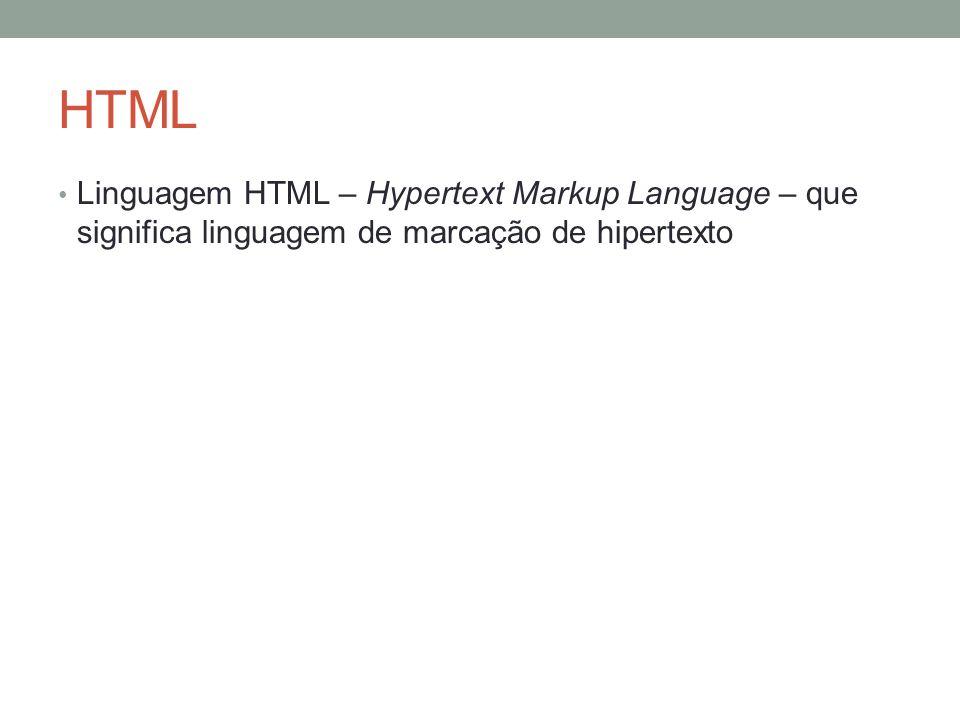 HTML Linguagem HTML – Hypertext Markup Language – que significa linguagem de marcação de hipertexto