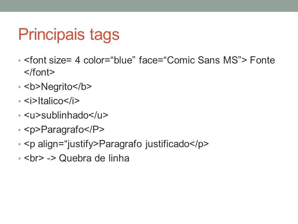 Principais tags Fonte Negrito Italico sublinhado Paragrafo Paragrafo justificado -> Quebra de linha