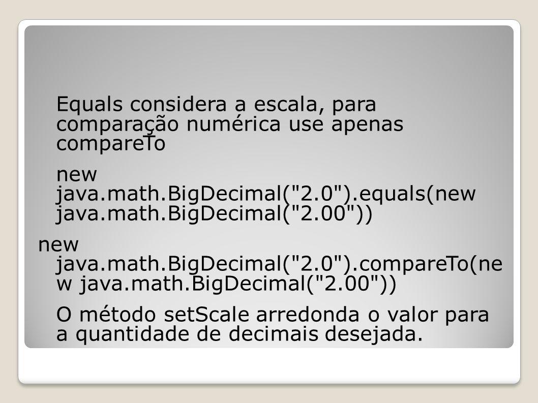 Equals considera a escala, para comparação numérica use apenas compareTo new java.math.BigDecimal(