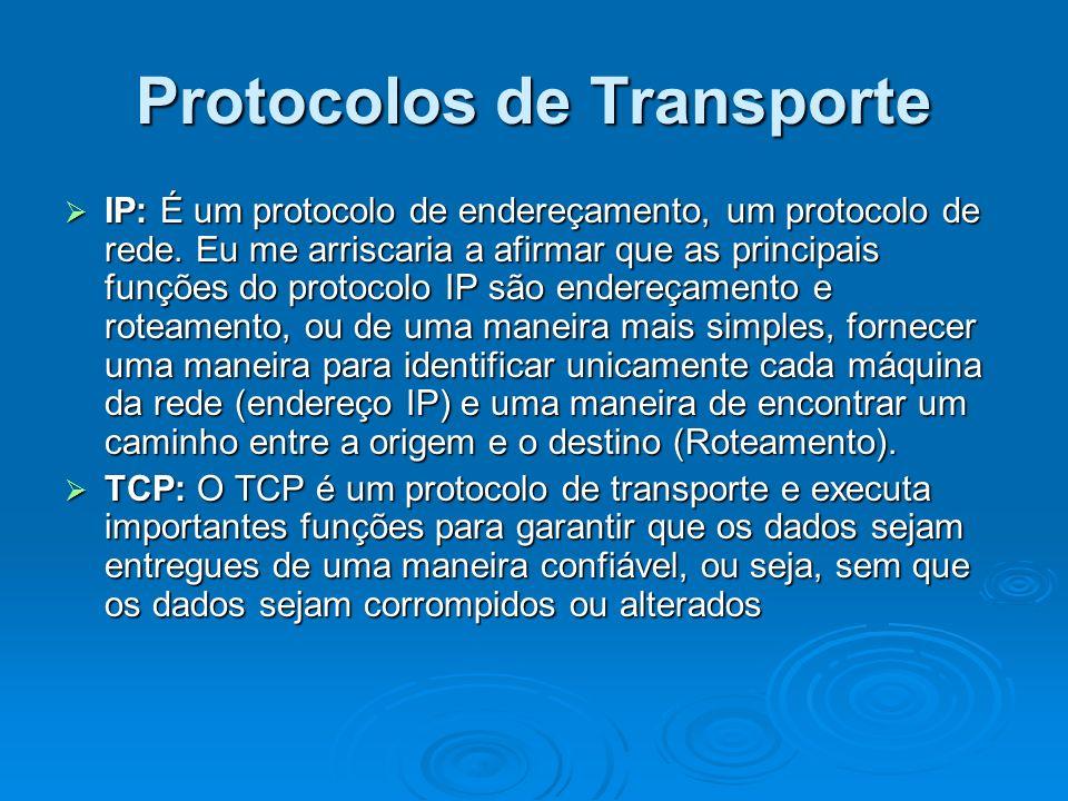 Protocolos de Transporte IP: É um protocolo de endereçamento, um protocolo de rede. Eu me arriscaria a afirmar que as principais funções do protocolo