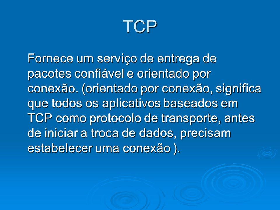Algumas características do TCP Garante a entrega de datagramas IP; Garante a entrega de datagramas IP; Executa a segmentação e reagrupamento de grandes blocos de dados enviados pelos programas e Garante o seqüenciamento adequado e entrega ordenada de dados segmentados: Os pacotes podem ser enviados por caminhos diferentes e chegar fora de ordem; Executa a segmentação e reagrupamento de grandes blocos de dados enviados pelos programas e Garante o seqüenciamento adequado e entrega ordenada de dados segmentados: Os pacotes podem ser enviados por caminhos diferentes e chegar fora de ordem; Verifica a integridade dos dados transmitidos usando cálculos de soma de verificação; Verifica a integridade dos dados transmitidos usando cálculos de soma de verificação; Envia mensagens positivas dependendo do recebimento bem- sucedido dos dados.