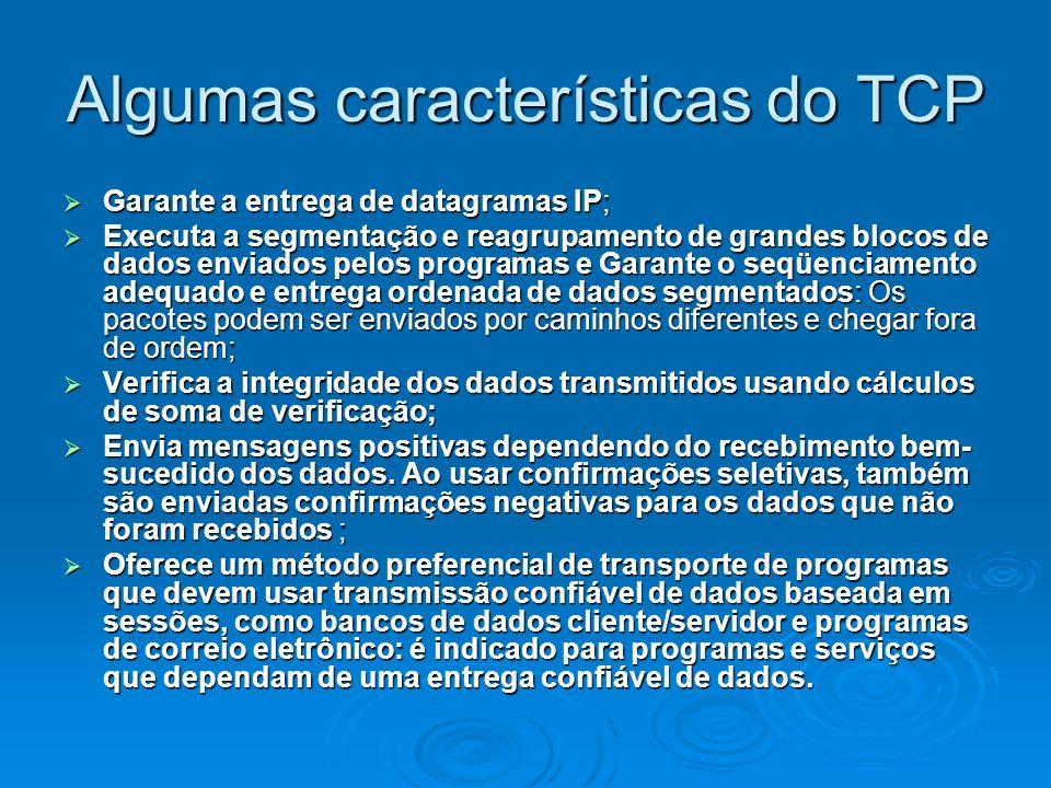 Algumas características do TCP Garante a entrega de datagramas IP; Garante a entrega de datagramas IP; Executa a segmentação e reagrupamento de grande