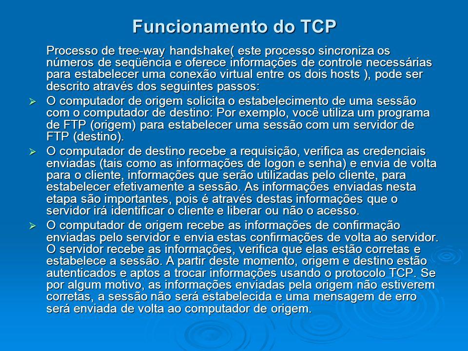 Funcionamento do TCP Processo de tree-way handshake( este processo sincroniza os números de seqüência e oferece informações de controle necessárias pa