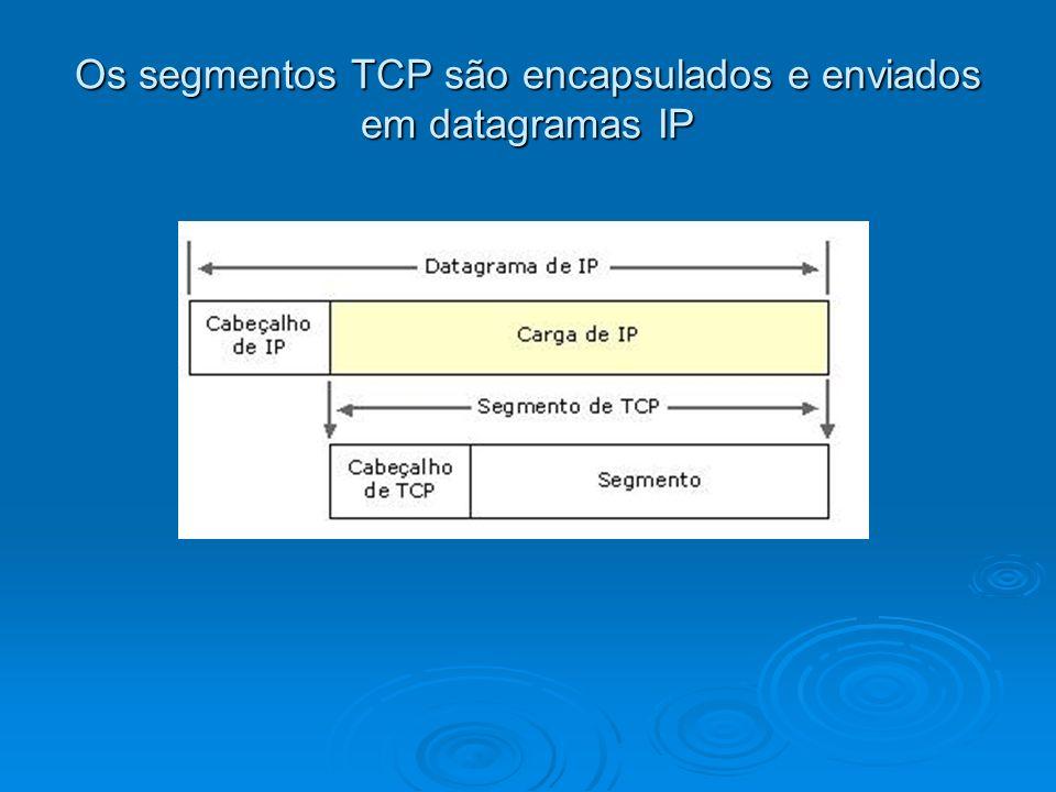 Os segmentos TCP são encapsulados e enviados em datagramas IP