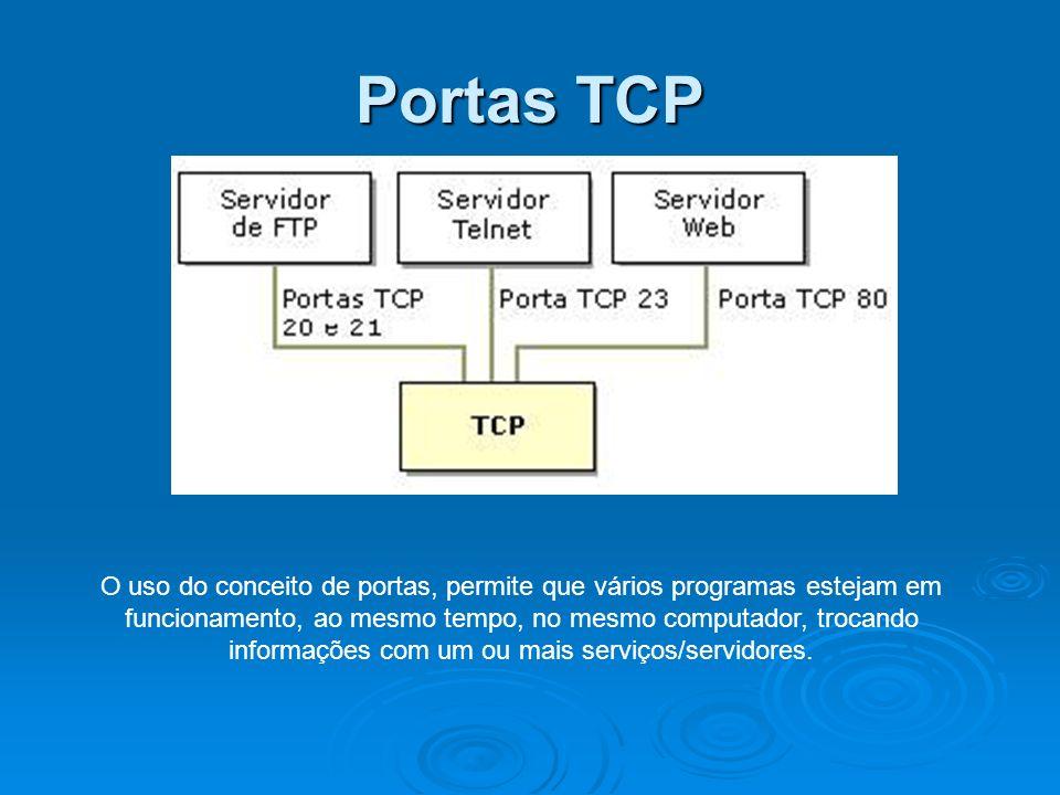 Portas TCP O uso do conceito de portas, permite que vários programas estejam em funcionamento, ao mesmo tempo, no mesmo computador, trocando informaçõ