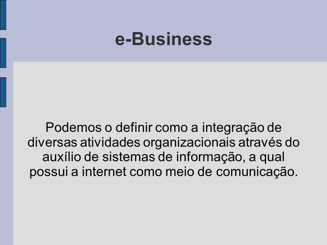 e-Business Podemos o definir como a integração de diversas atividades organizacionais através do auxílio de sistemas de informação, a qual possui a in