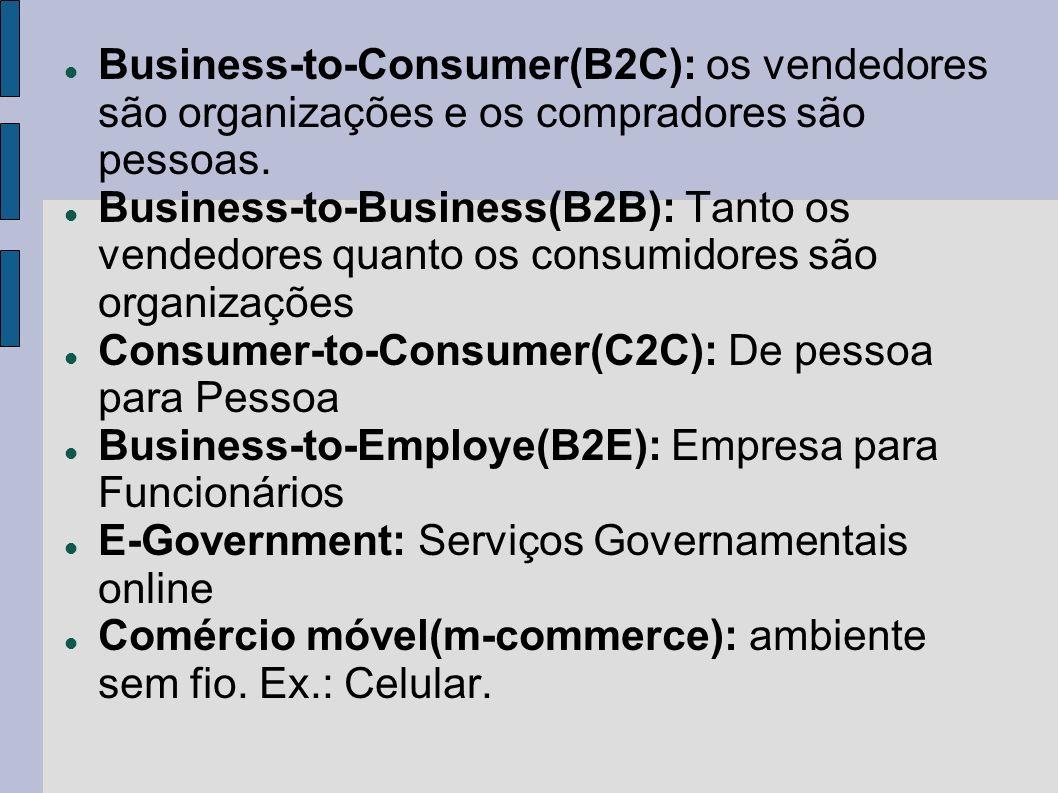 Business-to-Consumer(B2C): os vendedores são organizações e os compradores são pessoas. Business-to-Business(B2B): Tanto os vendedores quanto os consu