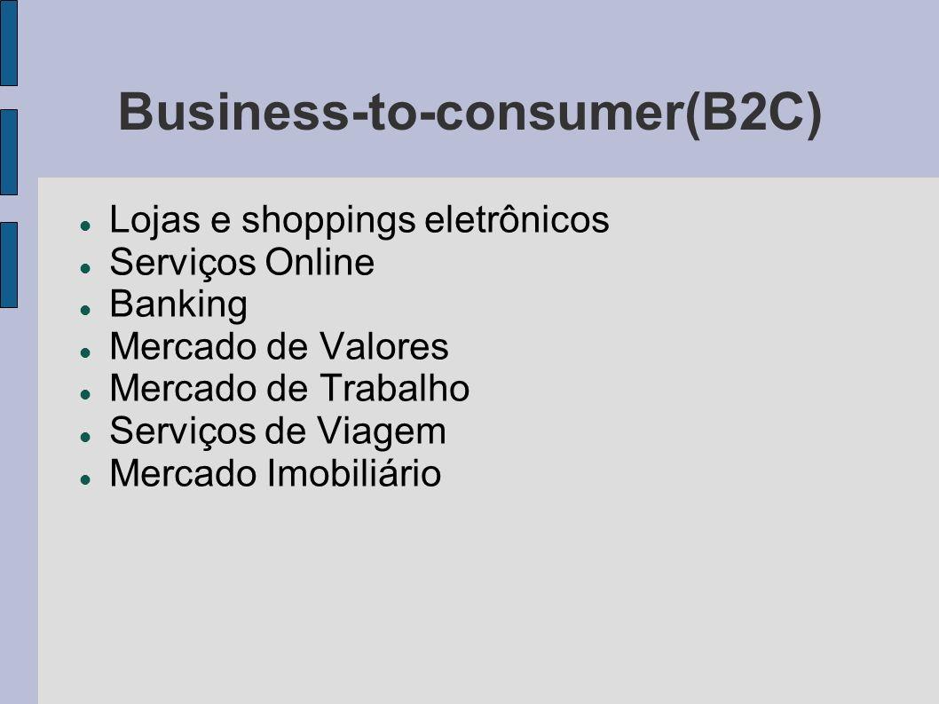 Business-to-consumer(B2C) Lojas e shoppings eletrônicos Serviços Online Banking Mercado de Valores Mercado de Trabalho Serviços de Viagem Mercado Imob
