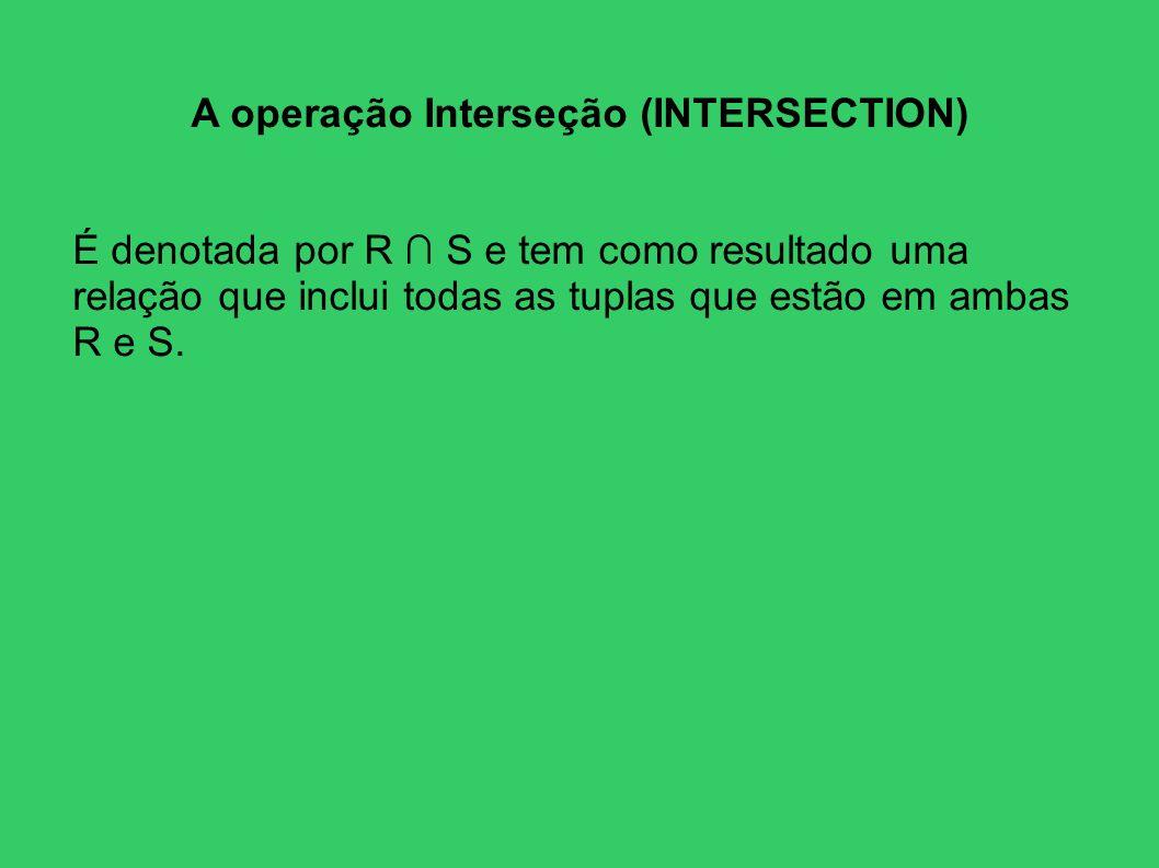 A operação Interseção (INTERSECTION) É denotada por R S e tem como resultado uma relação que inclui todas as tuplas que estão em ambas R e S.