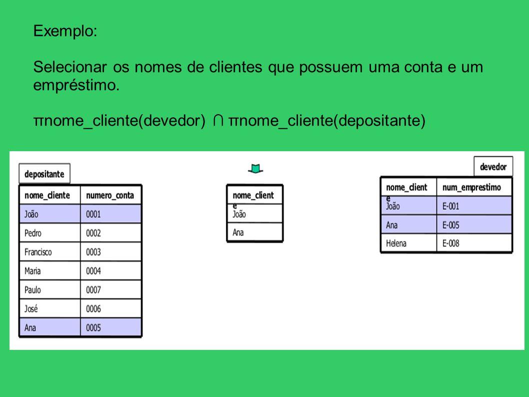 Exemplo: Selecionar os nomes de clientes que possuem uma conta e um empréstimo. πnome_cliente(devedor) πnome_cliente(depositante)
