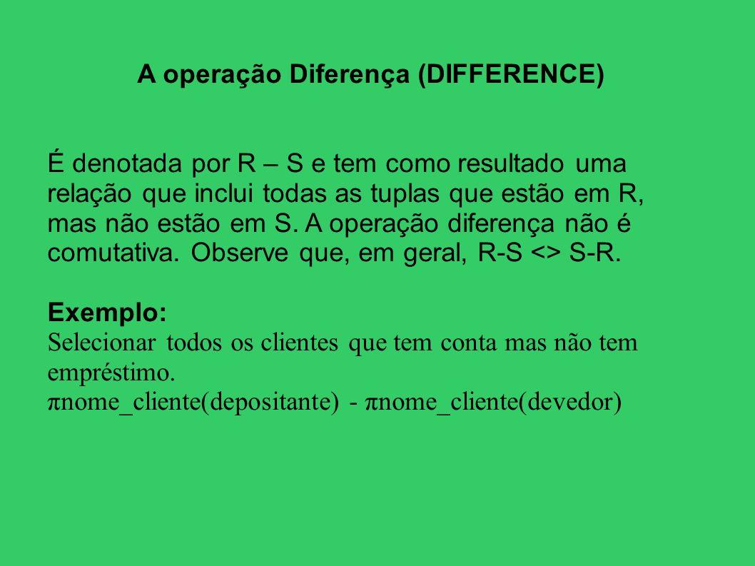 A operação Diferença (DIFFERENCE) É denotada por R – S e tem como resultado uma relação que inclui todas as tuplas que estão em R, mas não estão em S.