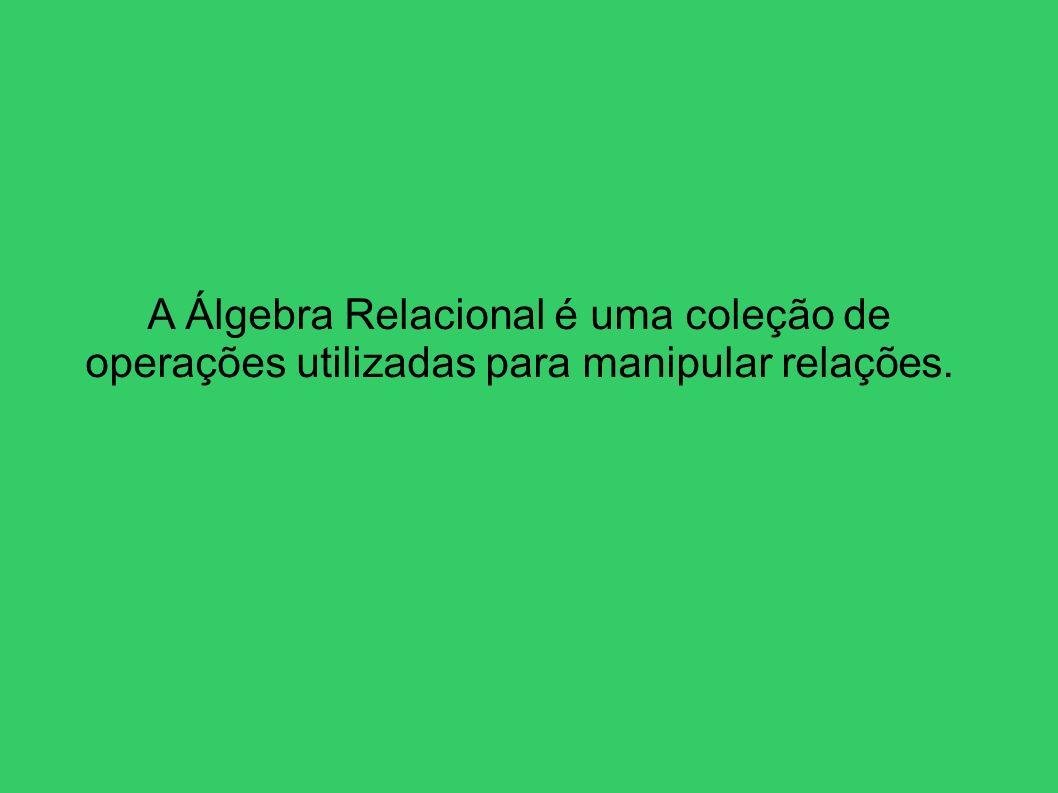 A Álgebra Relacional é uma coleção de operações utilizadas para manipular relações.