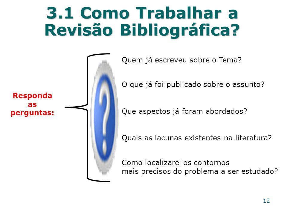 3.1 Como Trabalhar a Revisão Bibliográfica? Responda as perguntas: O que já foi publicado sobre o assunto? Quem já escreveu sobre o Tema? Que aspectos