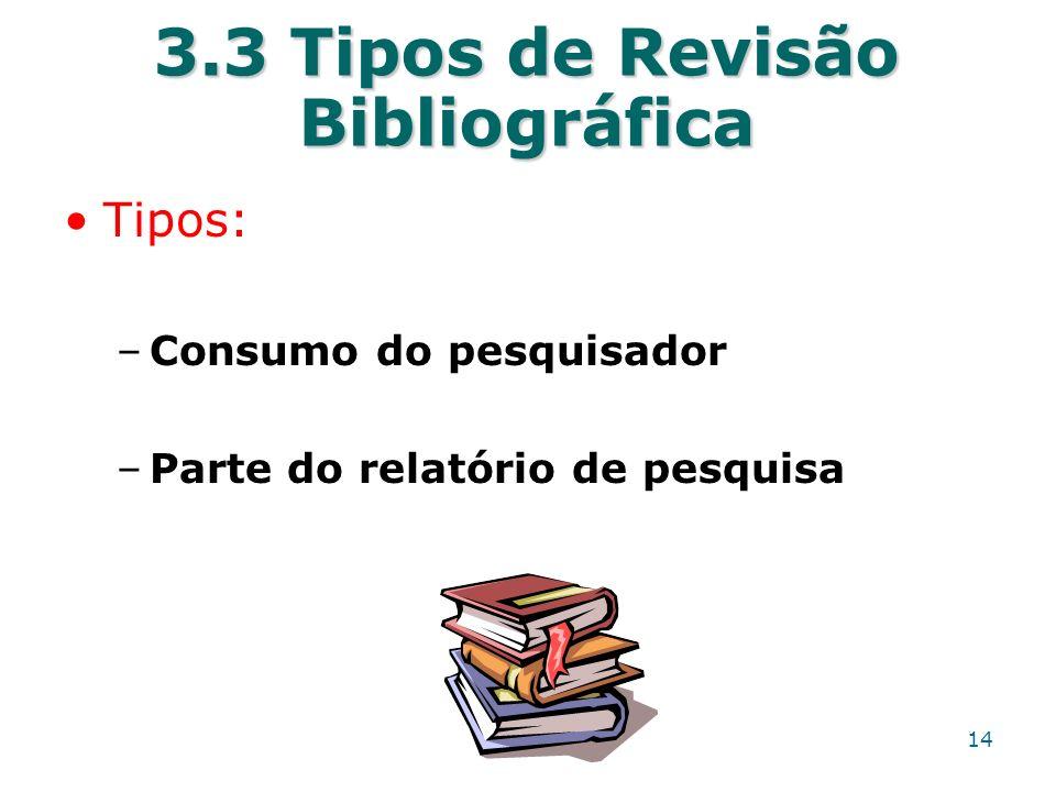 3.3 Tipos de Revisão Bibliográfica Tipos: –Consumo do pesquisador –Parte do relatório de pesquisa 14