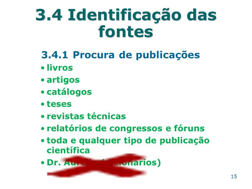 3.4 Identificação das fontes 3.4.1 Procura de publicações livros artigos catálogos teses revistas técnicas relatórios de congressos e fóruns toda e qu