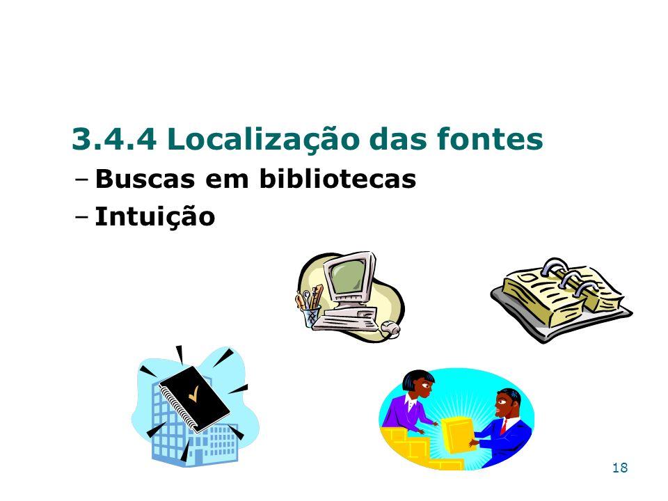 3.4.4 Localização das fontes –Buscas em bibliotecas –Intuição 18