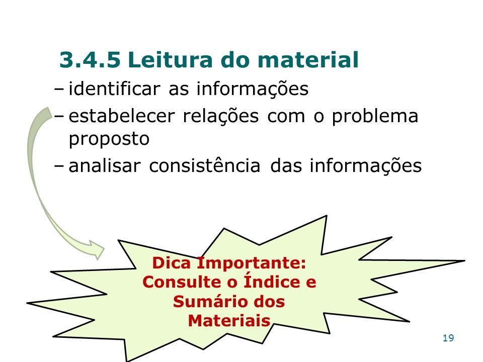 3.4.5 Leitura do material –identificar as informações –estabelecer relações com o problema proposto –analisar consistência das informações Dica Import