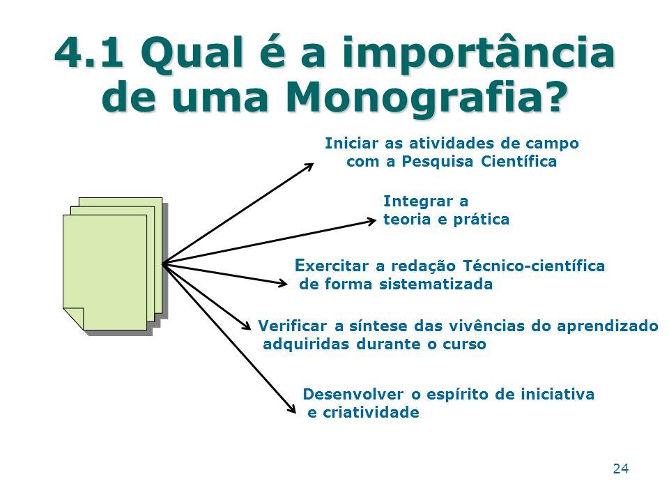 4.1 Qual é a importância de uma Monografia? Iniciar as atividades de campo com a Pesquisa Científica Integrar a teoria e prática E xercitar a redação