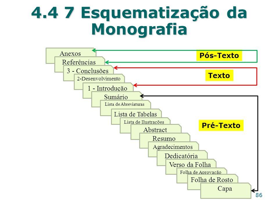 4.4 7 Esquematização da Monografia 86 Anexos Referências 3 - Conclusões 2-Desenvolvimento 1 - Introdução Sumário Lista de Abreviaturas Lista de Tabela