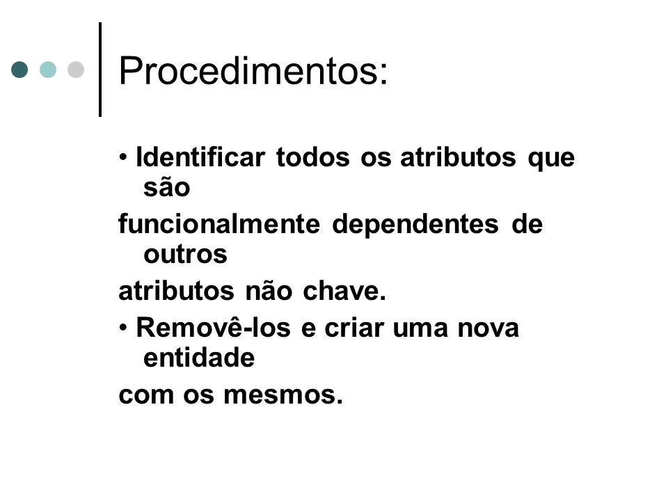 Procedimentos: Identificar todos os atributos que são funcionalmente dependentes de outros atributos não chave. Removê-los e criar uma nova entidade c