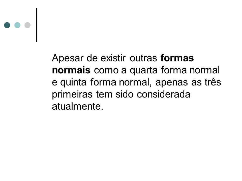 Primeira Forma Normal Uma relação R está na 1FN se todos os domínios básicos contiverem somente valores atômicos (não possuem grupos repetitivos).