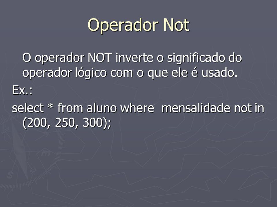 Operador Not O operador NOT inverte o significado do operador lógico com o que ele é usado.