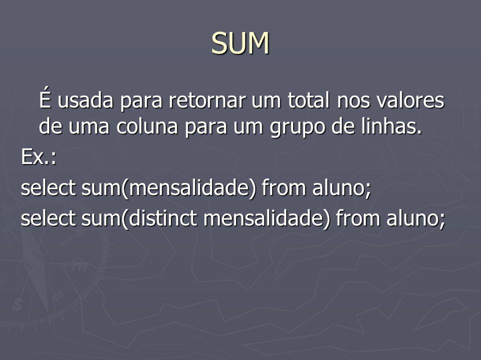 SUM É usada para retornar um total nos valores de uma coluna para um grupo de linhas.