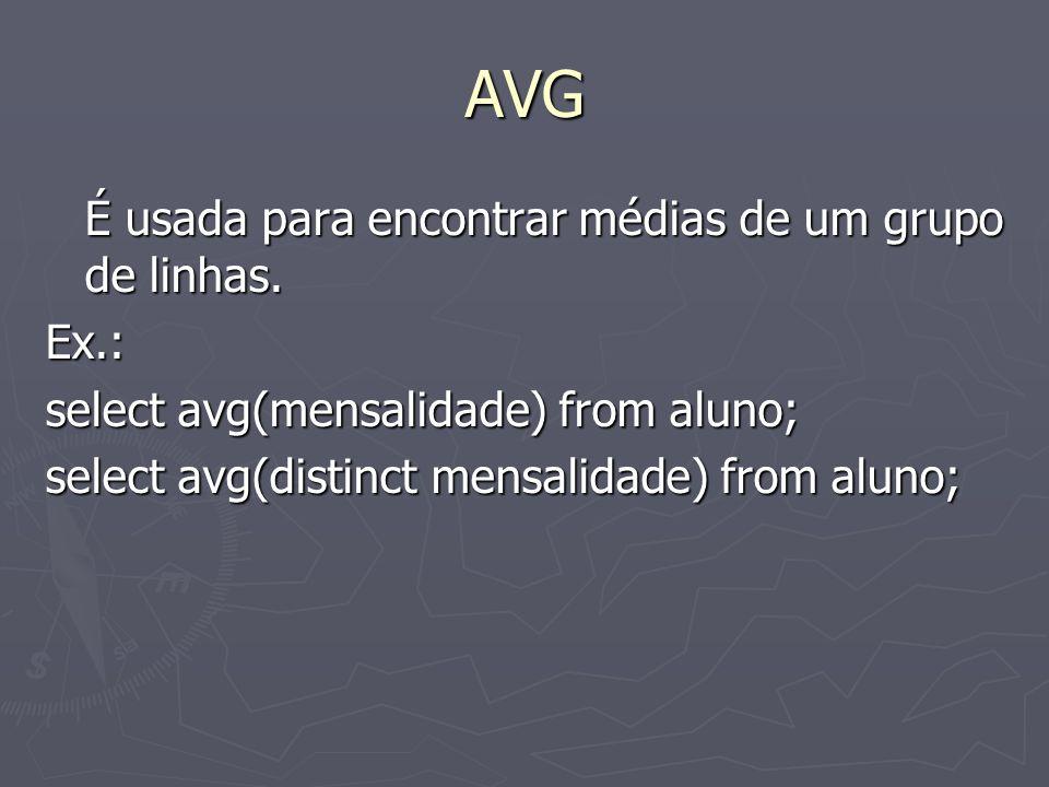 AVG É usada para encontrar médias de um grupo de linhas.
