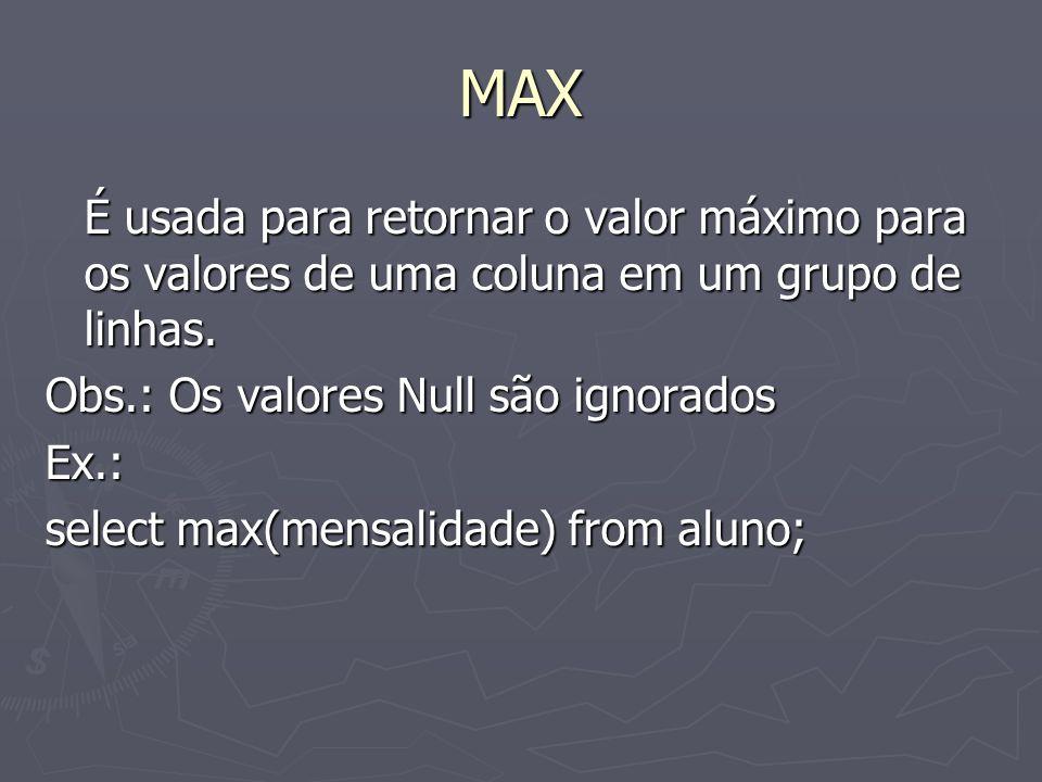 MAX É usada para retornar o valor máximo para os valores de uma coluna em um grupo de linhas.