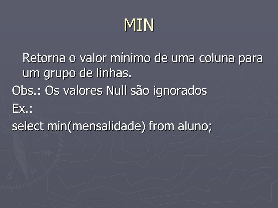 MIN Retorna o valor mínimo de uma coluna para um grupo de linhas.