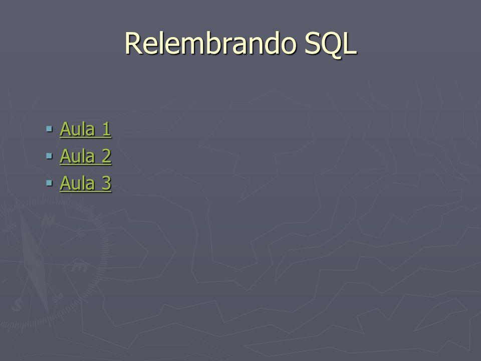 Relembrando SQL Aula 1 Aula 1 Aula 1 Aula 1 Aula 2 Aula 2 Aula 2 Aula 2 Aula 3 Aula 3 Aula 3 Aula 3