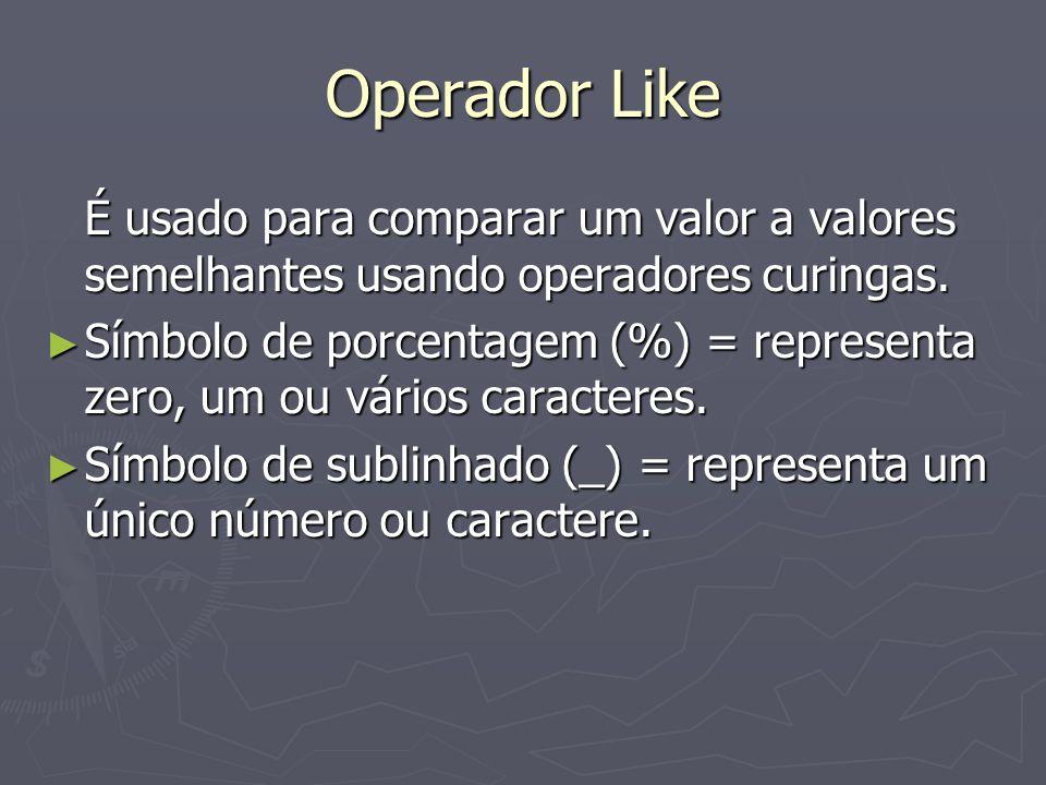 Operador Like É usado para comparar um valor a valores semelhantes usando operadores curingas.