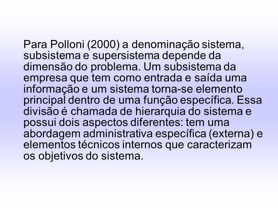 Para Polloni (2000) a denominação sistema, subsistema e supersistema depende da dimensão do problema. Um subsistema da empresa que tem como entrada e