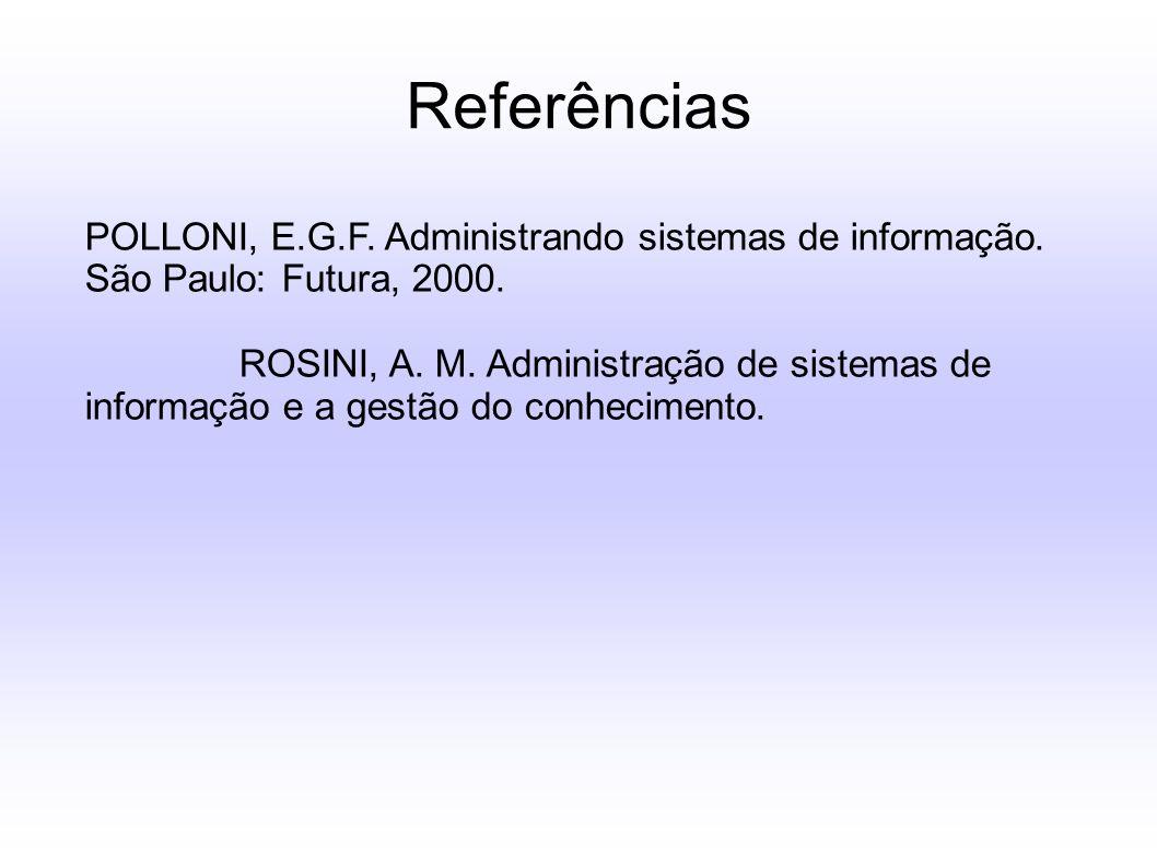 Referências POLLONI, E.G.F. Administrando sistemas de informação. São Paulo: Futura, 2000. ROSINI, A. M. Administração de sistemas de informação e a g