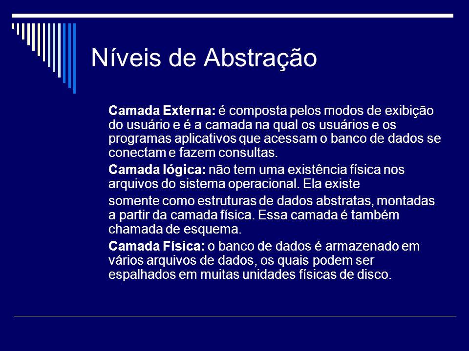 Níveis de Abstração Camada Externa: é composta pelos modos de exibição do usuário e é a camada na qual os usuários e os programas aplicativos que aces