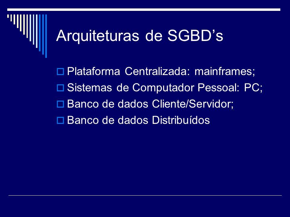 Arquiteturas de SGBDs Plataforma Centralizada: mainframes; Sistemas de Computador Pessoal: PC; Banco de dados Cliente/Servidor; Banco de dados Distrib
