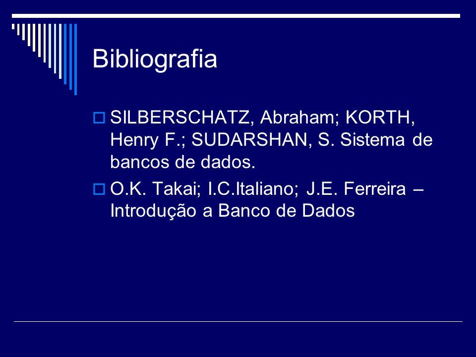 Bibliografia SILBERSCHATZ, Abraham; KORTH, Henry F.; SUDARSHAN, S. Sistema de bancos de dados. O.K. Takai; I.C.Italiano; J.E. Ferreira – Introdução a