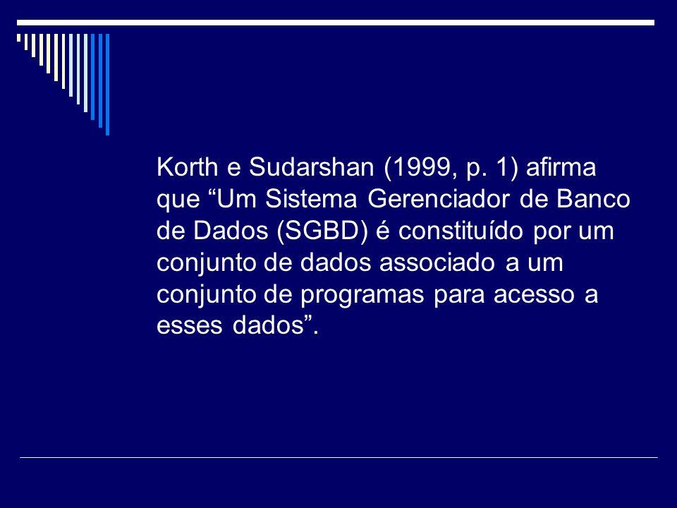 Korth e Sudarshan (1999, p. 1) afirma que Um Sistema Gerenciador de Banco de Dados (SGBD) é constituído por um conjunto de dados associado a um conjun