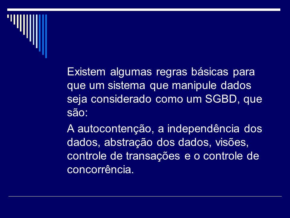 Existem algumas regras básicas para que um sistema que manipule dados seja considerado como um SGBD, que são: A autocontenção, a independência dos dad