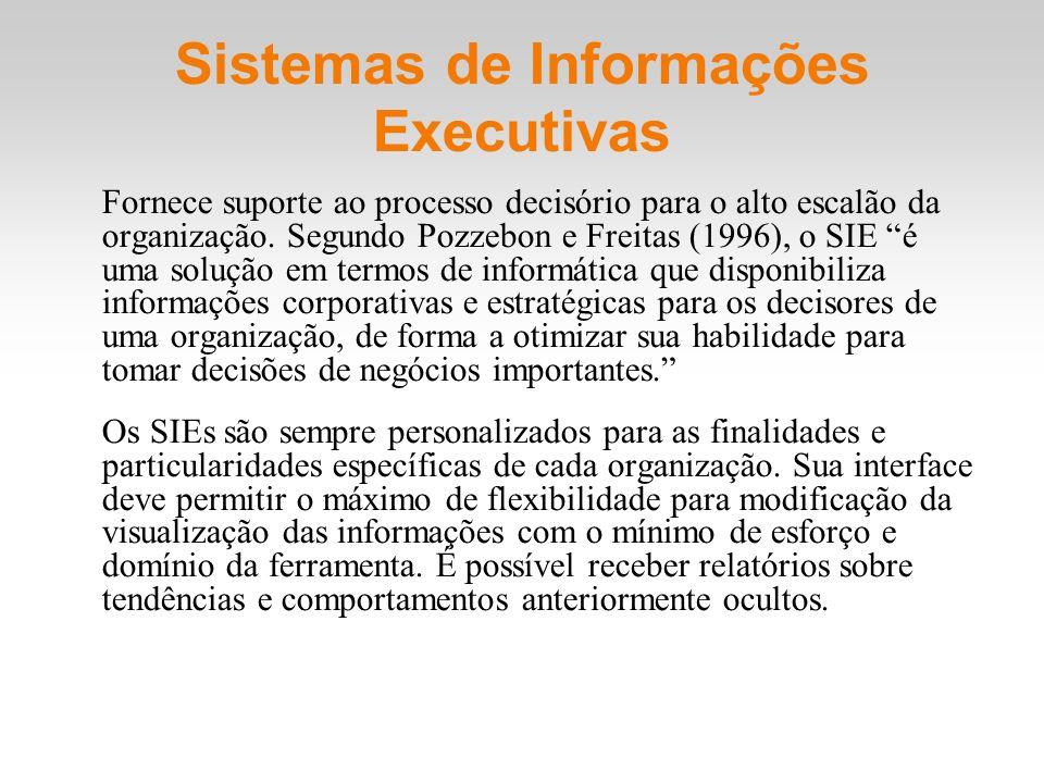 Sistemas de Informações Executivas Fornece suporte ao processo decisório para o alto escalão da organização. Segundo Pozzebon e Freitas (1996), o SIE