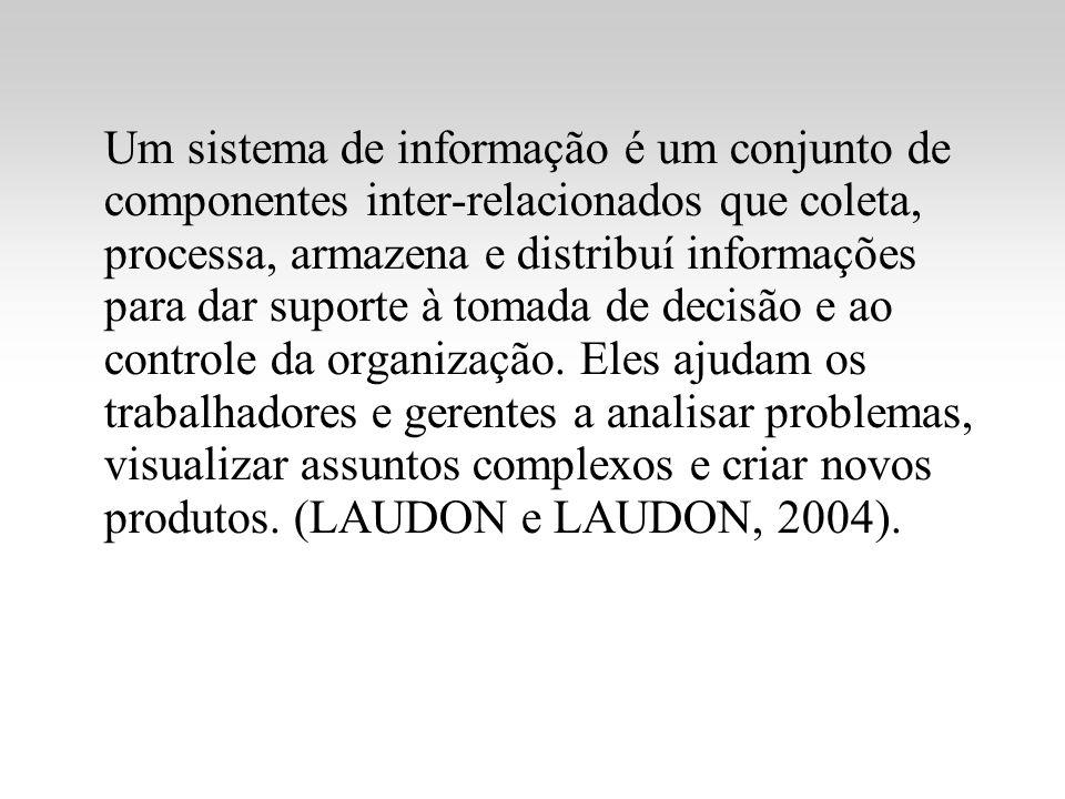 Um sistema de informação é um conjunto de componentes inter-relacionados que coleta, processa, armazena e distribuí informações para dar suporte à tom