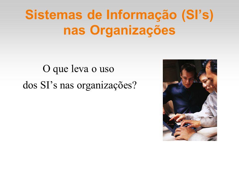 Sistemas de Informação (SIs) nas Organizações O que leva o uso dos SIs nas organizações?